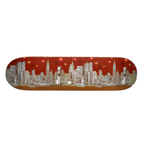 NYC romantic red Skate Board Deck
