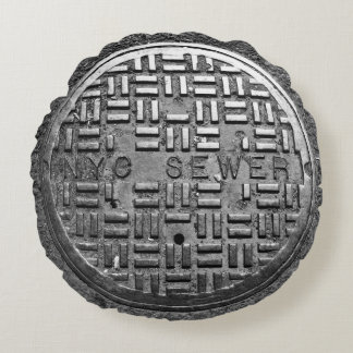 NYC Sewer Cover Round Cushion