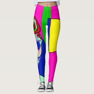nyc side leg art retro rockabilly girl leggings