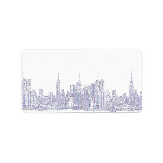 NYC sketch in light blue Label