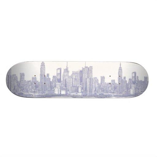 NYC sketch in light blue Skate Board