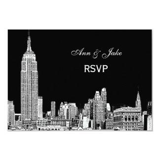 NYC Skyline 01 Etchd DIY BG Color RSVP #2 9 Cm X 13 Cm Invitation Card