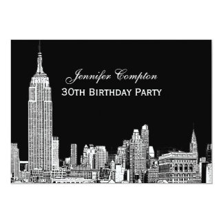 NYC Skyline 01 Etched DIY BG Color Birthday Party Card