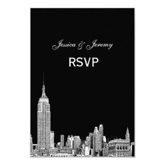 NYC Skyline 01 Etched RSVP #1 With Menu 9 Cm X 13 Cm Invitation Card