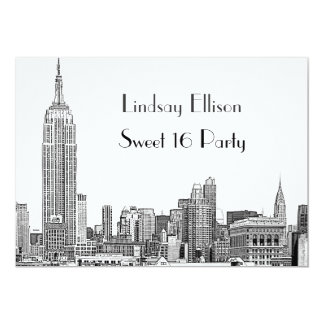 NYC Skyline 01 Etched Sweet 16 Party Card