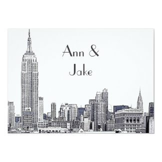 NYC Skyline 01 Etched Wedding Invite 2