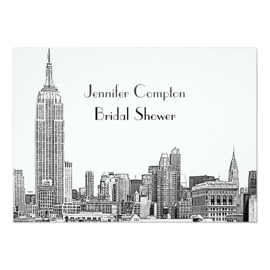 NYC Skyline 01 Etched Wht Bridal Shower Card