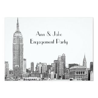 NYC Skyline 01 Etched Wht Engagement Party Card
