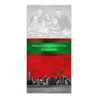 NYC Skyline #1 Red Sky Grn Stars, Your Photo Xmas Picture Card