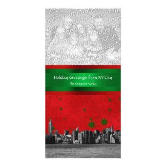 NYC Skyline #1 Red Sky Grn Stars, Your Photo Xmas Personalized Photo Card