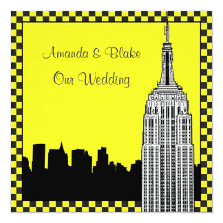 NYC Skyline 2 Etched ESB Checkered Taxi Wedding Card