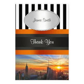 NYC Skyline at Sunset BW Stripe Thank You Custom Invitation