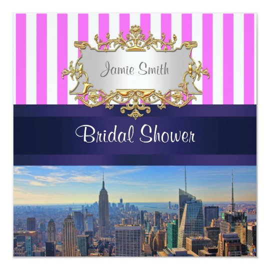 NYC Skyline B2 Pink White Stripe Bridal Shower Card
