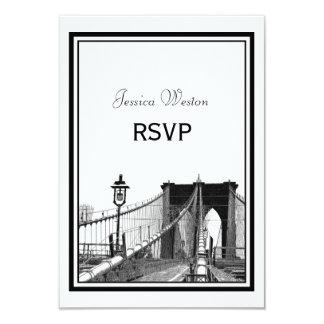 NYC Skyline Bklyn Bridge #2 Etched RSVP 9 Cm X 13 Cm Invitation Card