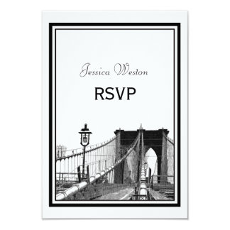 NYC Skyline Bklyn Bridge #2 Etched RSVP Card