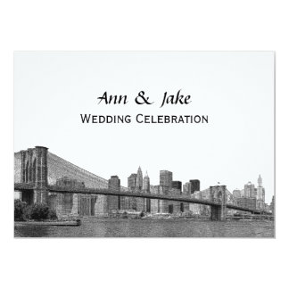 NYC Skyline Bklyn Bridge Etched #2H Wedding Card