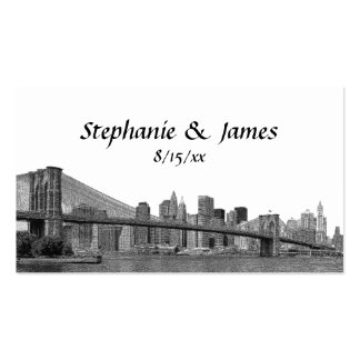 NYC Skyline Bklyn Bridge Etched Place Cards Business Card