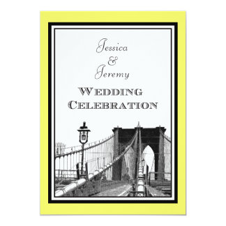 NYC Skyline Brooklyn Bridge #1 Etched Wedding Card