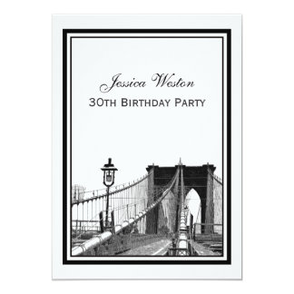 NYC Skyline Brooklyn Bridge #2 Birthday Party Card