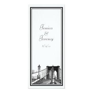 NYC Skyline Brooklyn Bridge #2 DIY Menu Reception 10 Cm X 24 Cm Invitation Card