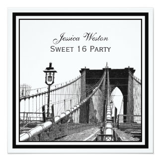 "NYC Skyline Brooklyn Bridge #2 SQ Sweet 16 Party 5.25"" Square Invitation Card"