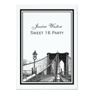 NYC Skyline Brooklyn Bridge #2 Sweet 16 Party 13 Cm X 18 Cm Invitation Card