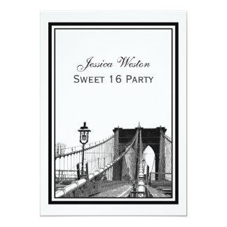 NYC Skyline Brooklyn Bridge #2 Sweet 16 Party Card