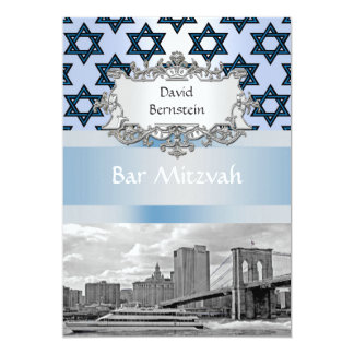 NYC Skyline Brooklyn Bridge Bar Mitzvah #2 13 Cm X 18 Cm Invitation Card