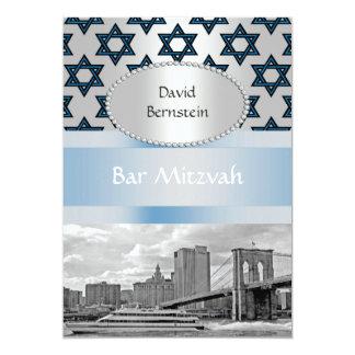 NYC Skyline Brooklyn Bridge Bar Mitzvah #3P 13 Cm X 18 Cm Invitation Card