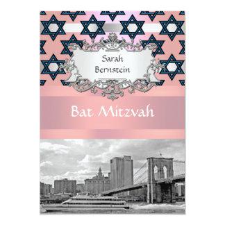 NYC Skyline Brooklyn Bridge Bat Mitzvah #1 13 Cm X 18 Cm Invitation Card