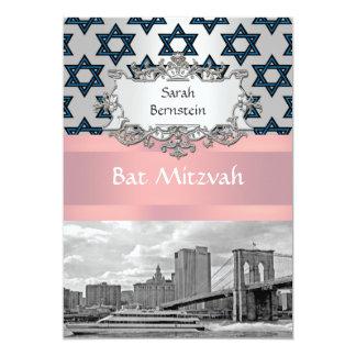 NYC Skyline Brooklyn Bridge Bat Mitzvah #3 13 Cm X 18 Cm Invitation Card