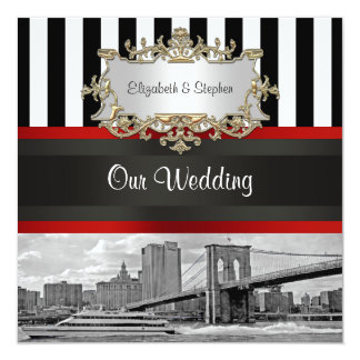 NYC Skyline Brooklyn Bridge Blk White Wedding Card