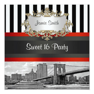 NYC Skyline Brooklyn Bridge Boat 2 Sweet 16 Invite