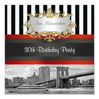 NYC Skyline Brooklyn Bridge, Boat Birthday Invite
