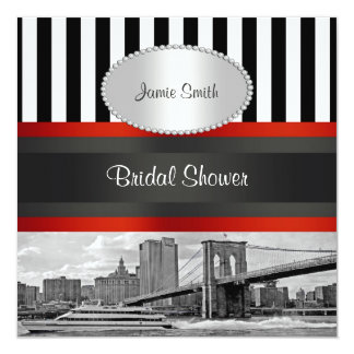 NYC Skyline Brooklyn Bridge, Boat Bridal Shower Card