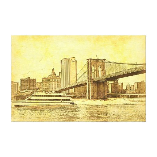 NYC Skyline Brooklyn Bridge Boat Etched Look #1BR Stretched Canvas Print