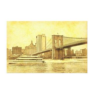 NYC Skyline Brooklyn Bridge Boat Etched Look #1BR Gallery Wrap Canvas