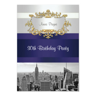NYC Skyline BW 05 White, Navy Blue Birthday Invite