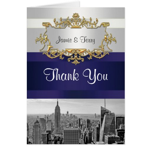 NYC Skyline BW 05 White Navy Blue Thank You Greeting Card