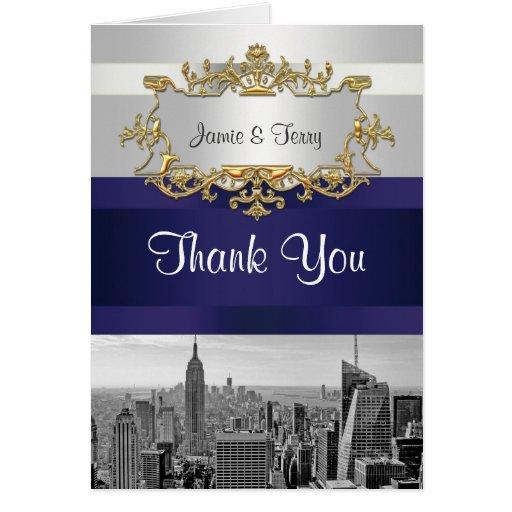 NYC Skyline BW 05 White Navy Blue Thank You Greeting Card