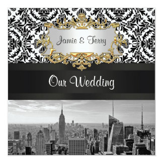 NYC Skyline BW 431 Damask Wedding Invitation