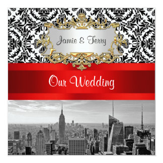 NYC Skyline BW 432 Damask Wedding Invitation