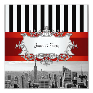 NYC Skyline BW B2 Wedding Invitation F2