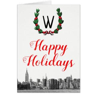 NYC Skyline Christmas Wreath Happy Holidays Card