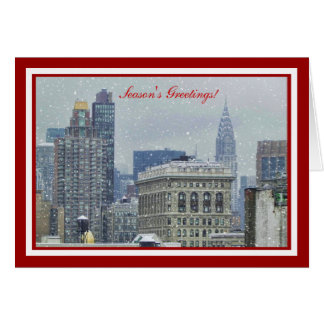 NYC Skyline Chrysler Bldg, Flatiron Snow Christmas Card