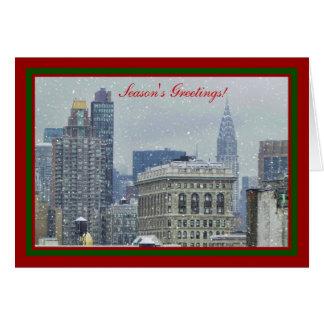 NYC Skyline Chrysler Bldg Flatiron Snow Xmas #2 Greeting Card