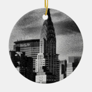 NYC Skyline: Chrysler Building, Met Life BW Ceramic Ornament