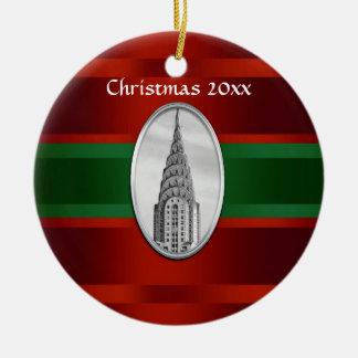 NYC Skyline: Chrysler Building Xmas #3 Ceramic Ornament
