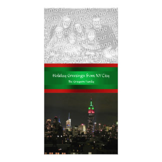 NYC Skyline, Empire State Bldg Red Grn, Your Photo Photo Card
