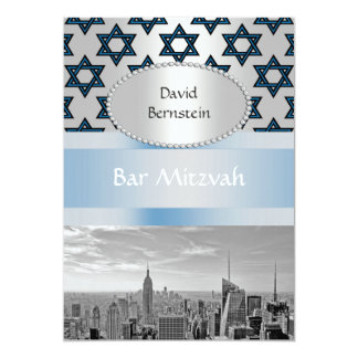 NYC Skyline Empire State Building Bar Mitzvah #3P 13 Cm X 18 Cm Invitation Card